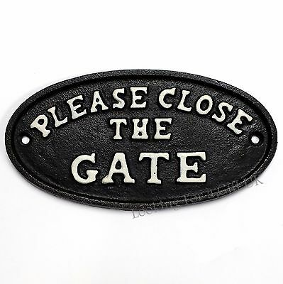 'PLEASE CLOSE THE GATE' cast iron sign for garden / yard use (Black)