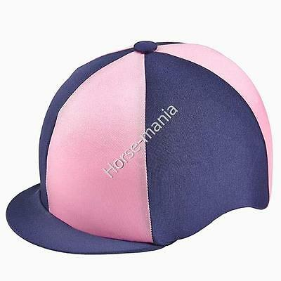 Navy & Light Pink Capz Riding Hat Silk Cover For Jockey Skull Caps One Size