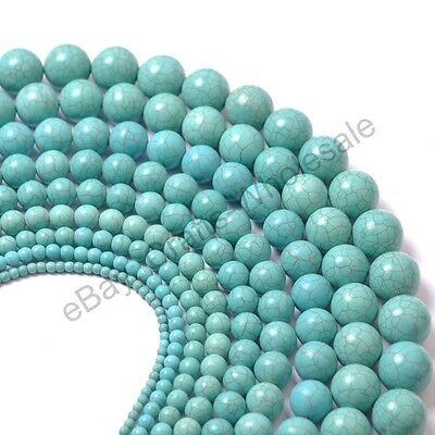 "16"" Howlite Turquoise Gemstone Round Beads 4MM 6MM 8MM 10MM 12MM 14MM 16MM 18MM"