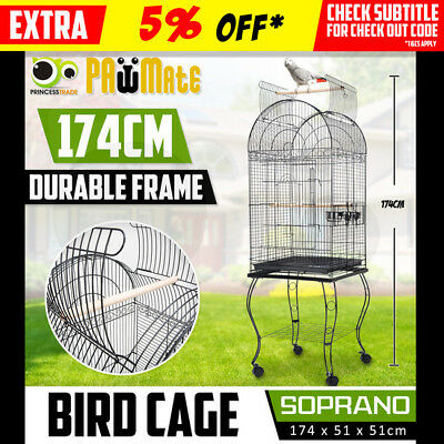 Bird Cage Parrot Aviary Pet Stand-alone Budgie Perch Castor Wheels Large 174cm