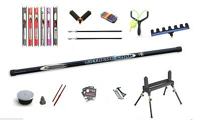 8 Metre Pole Fishing carp extreme pole package pre elasticated-Roller,rigs