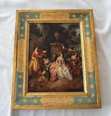 "Vintage Italy Art Gold Gilt Green Frame ""Meeting at the Garden"" Pater"