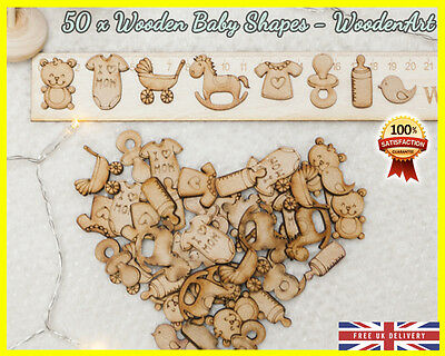 50 Wooden Baby Nursing shapes Craft Scrapbooking MDF Wood Gift Cut Card making