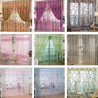 Room Floral Tulle Voile Door Window Curtain Drape Panel Balcony Valance Divider