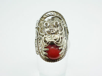 Unusual Vintage Sterling Silver Faux Coral Intricate Detailed DRAGON Ring Size Q