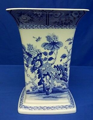 Spode Blue Room India Pattern Fluted Rim Square Vase – Limited Edition New Boxed