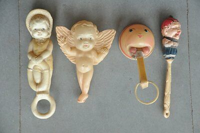 4 Pc Vintage Different Colorful Celluloid Baby Rattle Toys , Japan