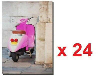 Wholesale Job Lot 24 x Pink Scooter Moped Vespa Mod Canvas Wall Art 40 x 60 cm