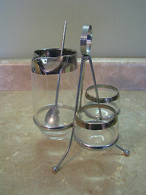 DOROTHY THORPE Silver Band MARTINI PITCHER Mini Roly Poly Glasses CADDY VTG MCM