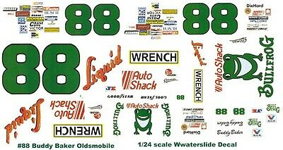 #88 Buddy Baker Liquid Wrench Oldsmobile 1/25th - 1/24th Scale Waterslide Decals