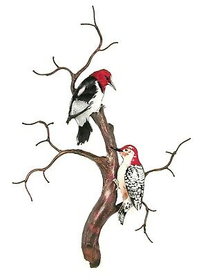 Wall Art - Woodpeckers On Bare Branch Tree Metal Wall Sculpture - Wall Decor