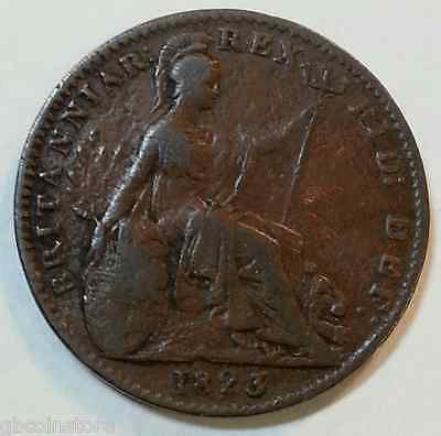 Scarce 1823 Roman I For 1 George Iv Farthing Clear Detail Spink 3822