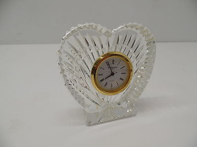 Waterford Crystal Collectible Charming Heart Shaped Clock with Gold Face AS IS