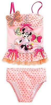 Disney Store Minnie Mouse 2pc Deluxe Polka Dot Swimsuit Girls Size 2 3 5/6 7/8