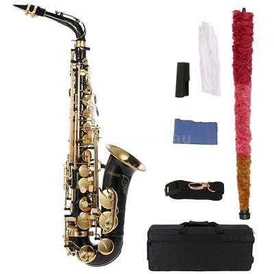 ammoon bE Alto Saxphone Brass Lacquered Gold E Flat Sax with Cleaning Kits X9F5