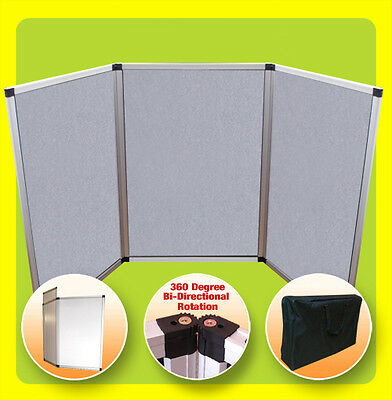 3 Panel Display 6' Tabletop Folding Trade Show Presentation - GRAY (NoHeader)