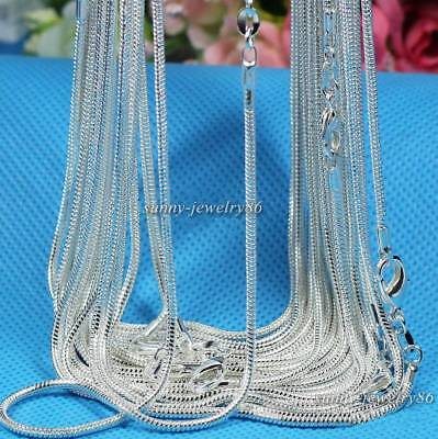 Wholesale 10pcs 925 Sterling Solid Silver Plt 1mm Snake Chain Necklace 16-30inch