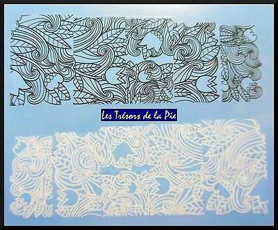 STICKERS ONGLES WATER DECAL (x10) - Nail art - Dentelle volutes - Noir & blanc