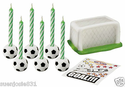 Wilton SOCCER CANDLE SET Ball Net Birthday Party Cake Decals Goal!