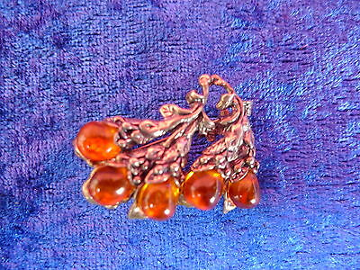 beautiful ,antique Brooch__925 Silver__amber