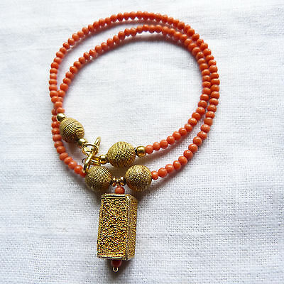 """Antique Victorian,coral and Senegal """"gold"""", Or du Pays, delicate salmon coral"""