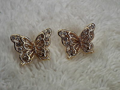 Goldtone Rhinestone Filigree BUTTERFLY Pierced Earrings (A54)