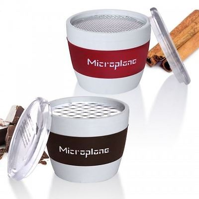Microplane Handheld Cup Graters, Spices (Red) or Chocolate (Brown)