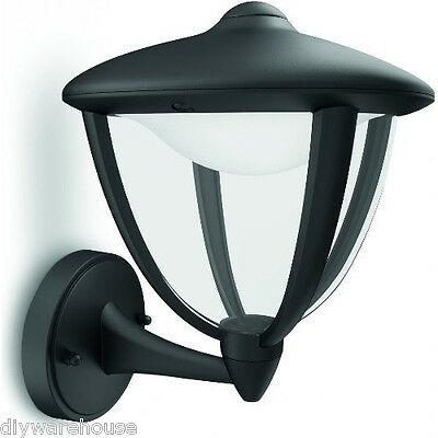 """Philips """"robin"""" Superb Quality Outdoor Deco Black Wall Light Ip44 Led Bulbs. New"""
