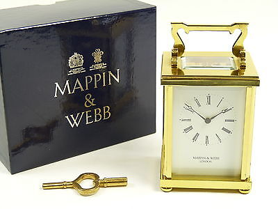 MAPPIN & WEBB Brass - 8 Day Carriage Clock, Striker. Boxed with Key