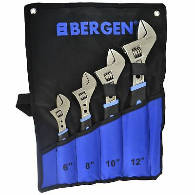 4pc Adjustable Spanner / Monkey Pipe Wrench Set Covers Range 036mm BERGEN AT558