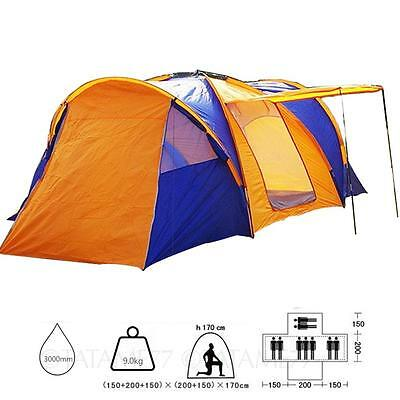 6 7 8 9 person Dome Waterproof Full Cover Skin Camping 3 Sleeping Rooms Tent