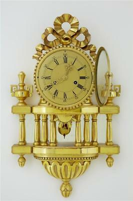 20Th Century Swedish Ornate Gilt Carved Wood Wall Clock