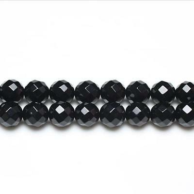 Strand Of 25+ Black Onyx 14mm Faceted Round Beads GS3373-6