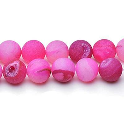 Strand Of 25+ Fuchsia Agate Druzy 14mm Frosted Round Beads CB25631-1
