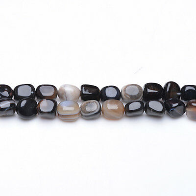 Strand Of 40+ Black Onyx Approx 8mm Smooth Nugget Beads GS3733
