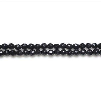 Strand Of 110+ Black Onyx 3mm Faceted Round Beads GS10074-2