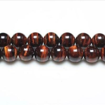 Strand Of 44+ Red/Brown Tiger Eye 8mm Plain Round Beads GS0378-3