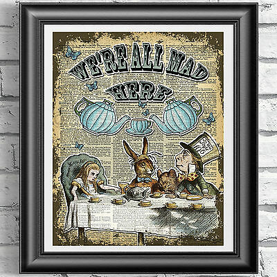 Alice in Wonderland ART PRINT ON ORIGINAL ANTIQUE BOOK PAGE Tea Time Dictionary