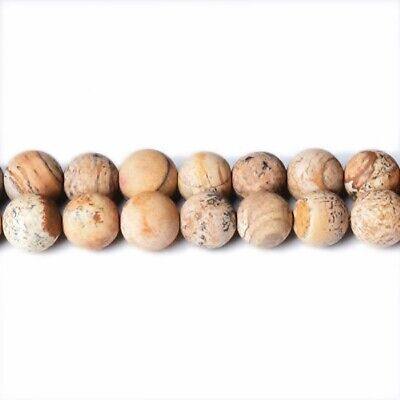 Strand Of 62+ Beige Picture Jasper 6mm Frosted Round Beads CB31603-2
