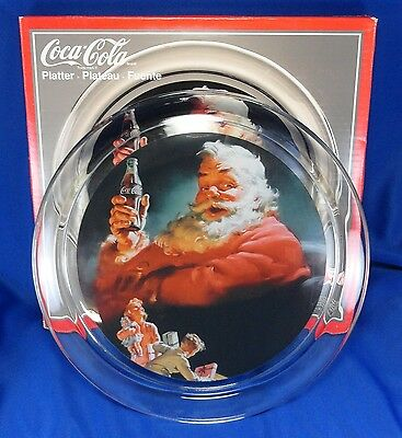 Collectible Indiana Glass Coca Cola Company Santa Clause platter plate 1993 5539
