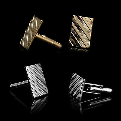Men's Square Cuff Links mens Wedding party Gift Cufflinks Gold Silver