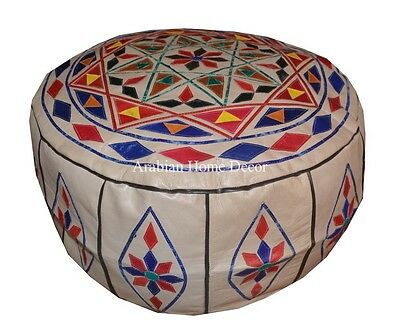 Handcrafted Moroccan Genuine Leather Pouf Pouffe Ottoman Hassock Footstool