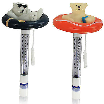 Pool Thermometer Eisbär Poolthermometer Pool Schwimmbad rund Schwimmbecken