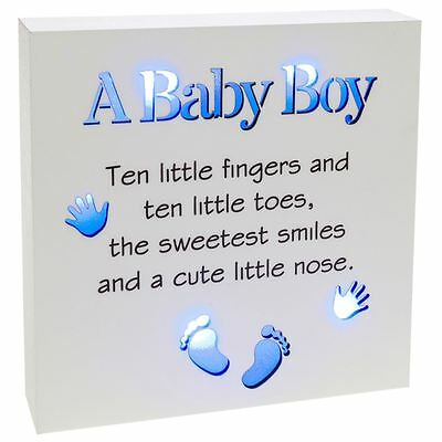 Shudehill Giftware Baby Boy Sentiment Block-Art with Blue LED Lights