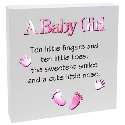 Shudehill Giftware Baby Girl Sentiment Block-Art with Pink LED Lights
