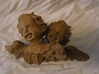 Vintage German Carved Wood Cherub Angel 2 Head Wall Ornament #D