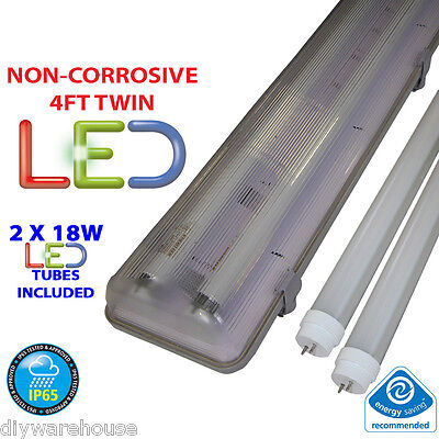 4Ft Twin Led 2 X 18W  Non Corrosive Weatherproof Fluorescent Light Fitting Ip65