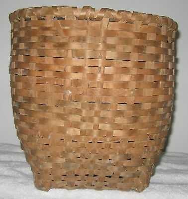 Vintage Splintwood Basket/back Pack Round Top Square Bottom Nice Height