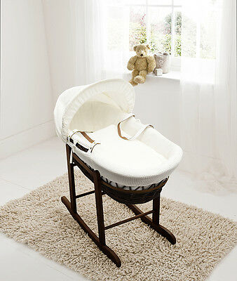 Cream Waffle Dark Wicker Moses Basket on Deluxe Rocking Walnut Stand