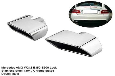 Mercedes E Class W212 Amg Style Polished Stainless Steel Exhaust Tailpipe Trims